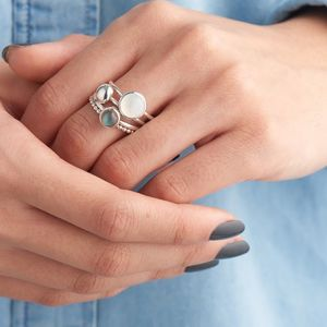 Mist Moonstone And Labradorite Stacking Rings