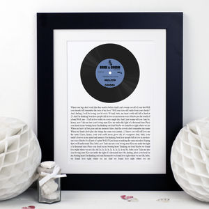 Song Lyrics Vinyl Record Print - music