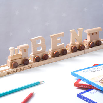 Personalised Wooden Name Train With Display Track