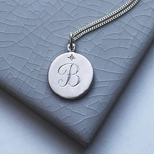 Diamond Initial Necklace In Sterling Silver - diamonds