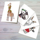 Set Of Animal Christmas Cards