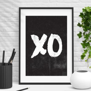 'Xo' Hugs And Kisses Wall Art Typography Print