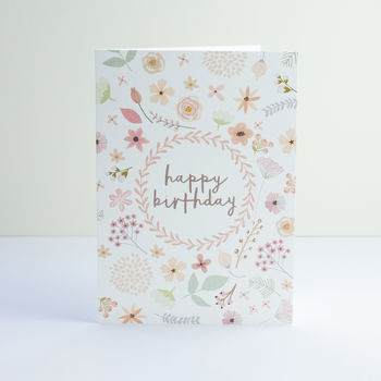 Pink Pressed Flowers Birthday Card