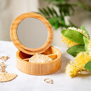 Round Bamboo Jewellery Box With Mirror