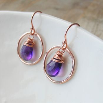Amethyst Rose Gold Circle Earrings