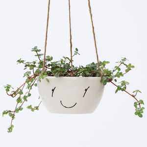Ceramic Hanging Planter With Face - gardener