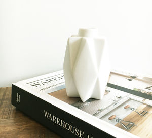 White Geometric Small Vase