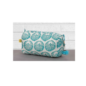 Pachora Circle Print Quilted Make Up Bag In Aqua - make-up bags