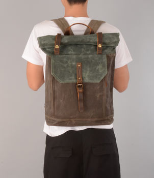 Waxed Canvas Rolltop Backpack Personalised