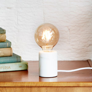 White Marble Table Lamp With Bulb - design-led lighting