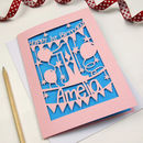 Candy Pink card with Peacock Blue paper