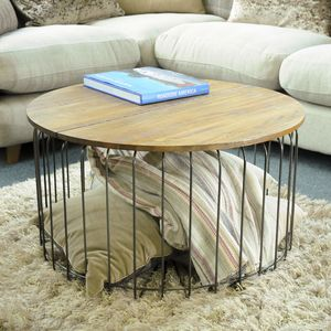 Birdcage Round Storage Coffee Table - furniture