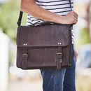 Leather Briefcase Messenger Bag