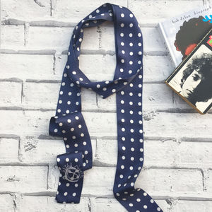 Polka Dot Silk Skinny Scarf - hats, scarves & gloves