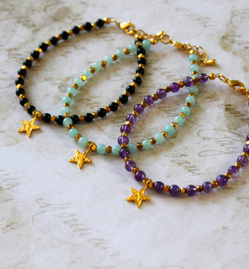 Semi Precious Stone Bracelet With Star Charm