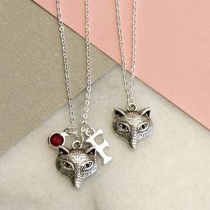 Personalised Silver Fox Charm Necklace - necklaces & pendants