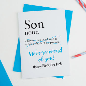 Son Personalised Birthday Card