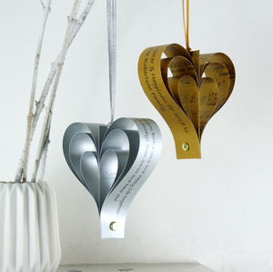 Gold Or Silver Personalised Heart Decoration - christmas cards