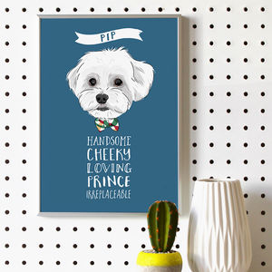 Personalised Dog Portrait With Traits - posters & prints