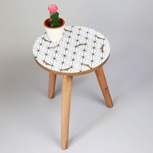 Monochrome And Gold Geometric Side Table