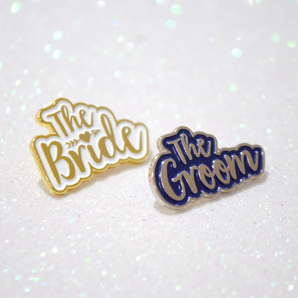 The Bride And The Groom Wedding Enamel Lapel Pin Set