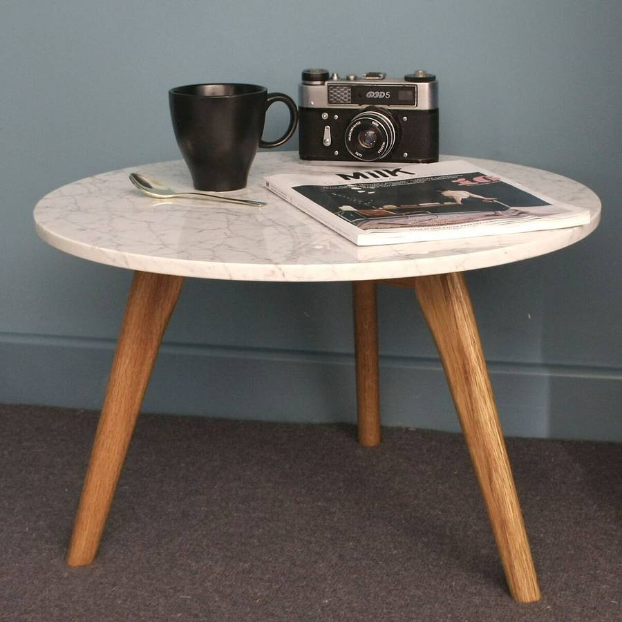 Etta Marble Coffee Table: Scandinavian Style White Marble Table By Ella James