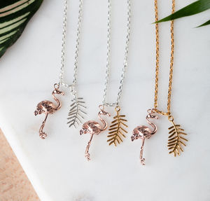 Flamingo And Palm Leaf Necklace