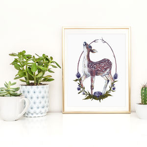 'Fawn And Thistle' Signed Art Print - animals & wildlife