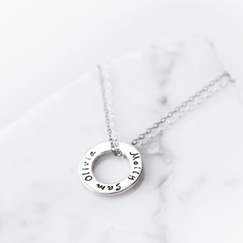 Personalised Silver Message Ring Pendant