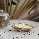 Recycled Oyster Shell And Gold Gift Candle