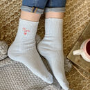 Embroidered Heart Bed Snug Socks