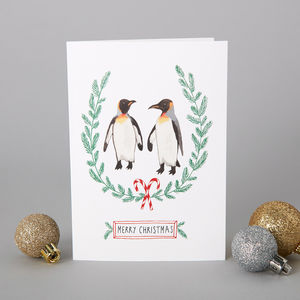 A Set Of Six Penguins Christmas Cards
