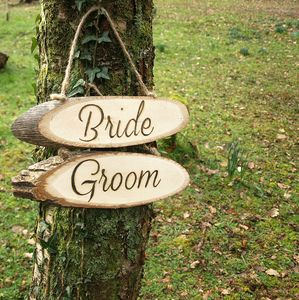 Bride And Groom Wooden Signs - room decorations
