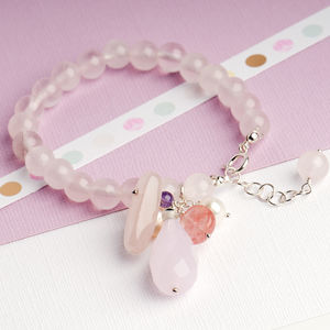 Rose Quartz Stone Bracelet With Cluster Stone Drop