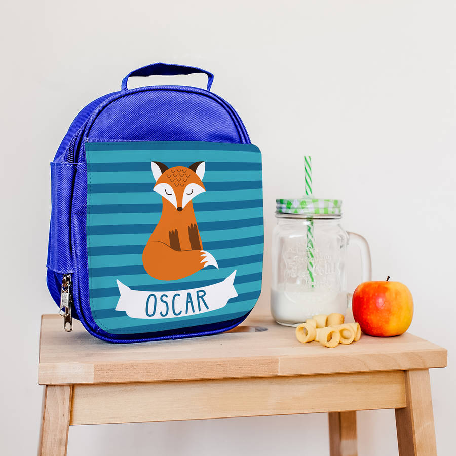 Children's Personalised Insulated Fox Lunch Bag
