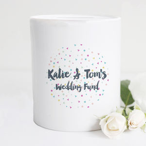 Personalised Confetti Wedding Fund Moneybox