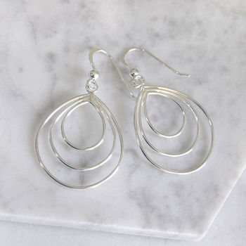 Sterling Silver Multi Teardrop Earrings