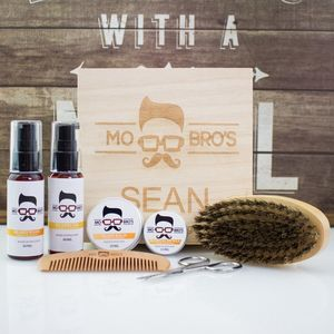 Mo Bro's Personalised Signature Wooden Beard Box - grooming gift sets