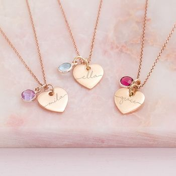 Esme Personalised Birthstone Heart Necklace