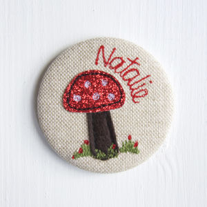 Personalised Toadstool Pocket Mirror