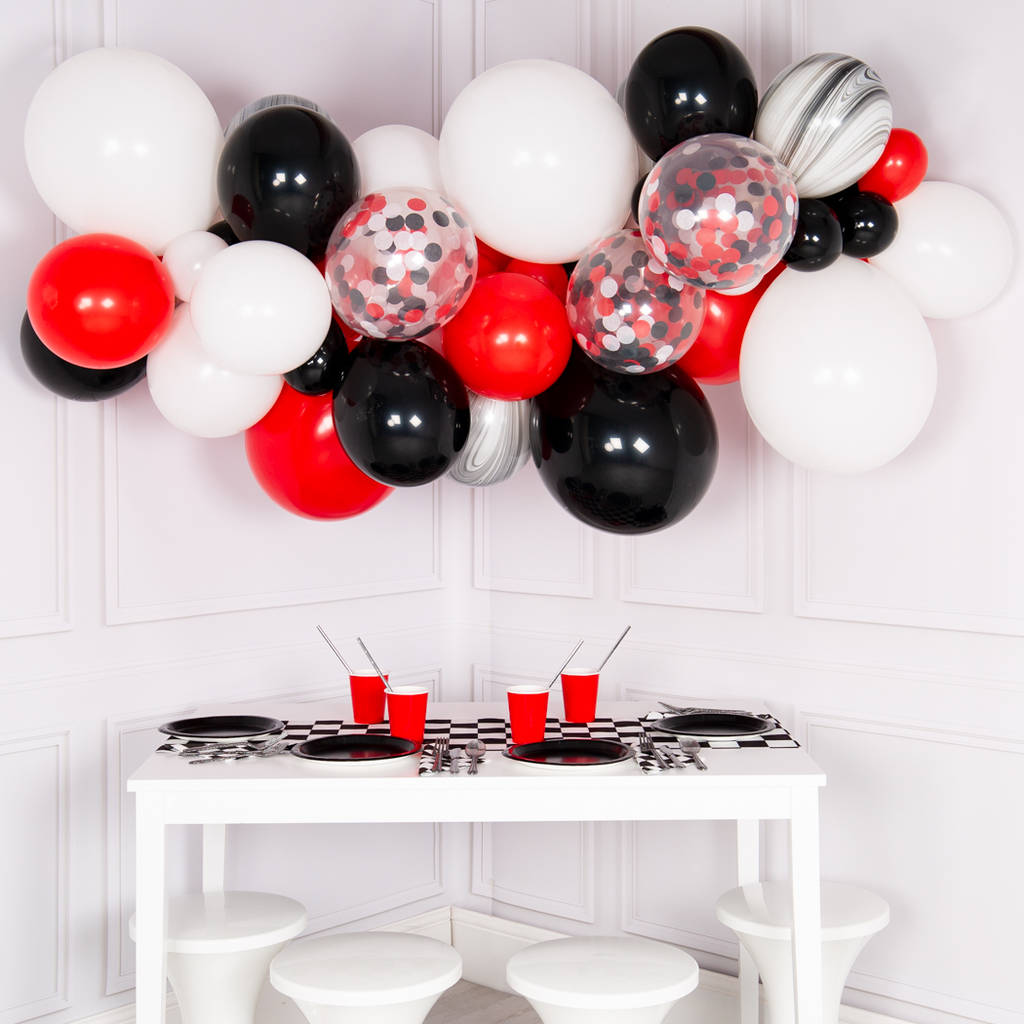 black, white and red balloon cloud kit by bubblegum balloons ...
