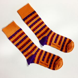 Orange Stripe/ Purple Triangle Socks - underwear & socks