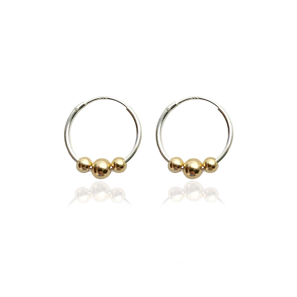 Silver Hoops With Three 9ct Gold Beads