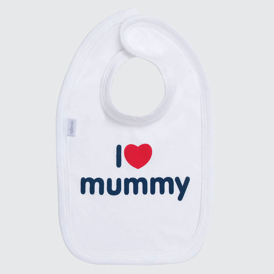 I Love Mummy Cotton Bib, Navy On White
