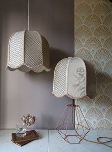 Blush Patchwork Tulip Lampshades - dining room