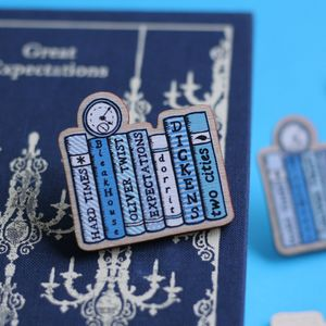 Charles Dickens Books Wooden Pin