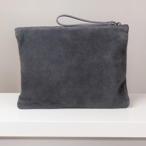 Large Grey Suede Clutch With Liberty Fabric Lining