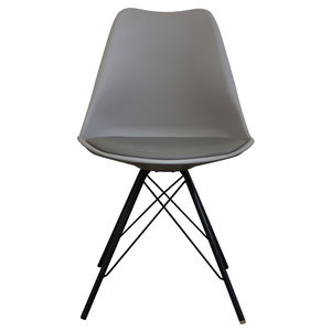 Cool Grey Copenhagen Chair With Black Metal Legs - dining chairs