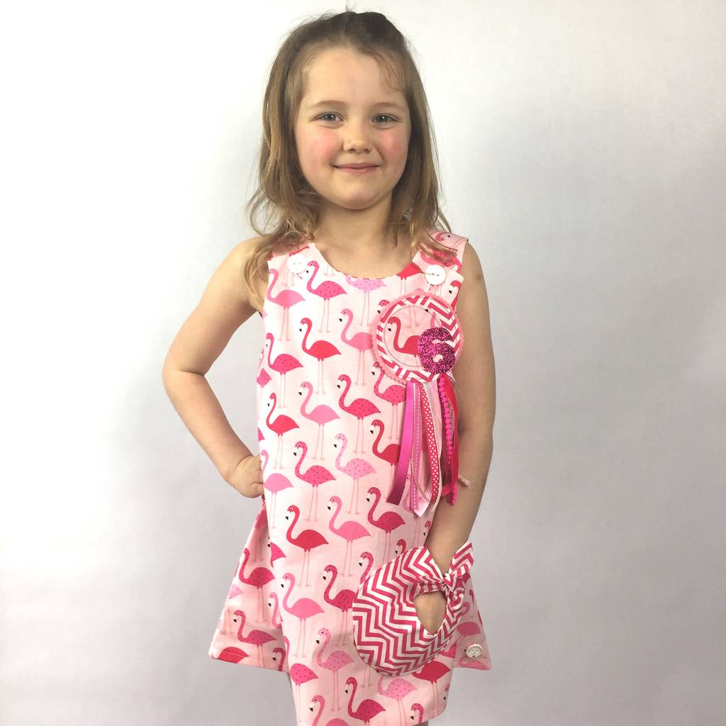 1fe6866b6 girls flamingo dress and birthday rosette set by lily & giraffe ...