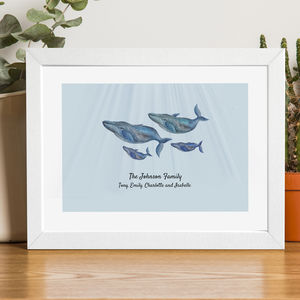 Personalised Family Portrait Print Of Whales